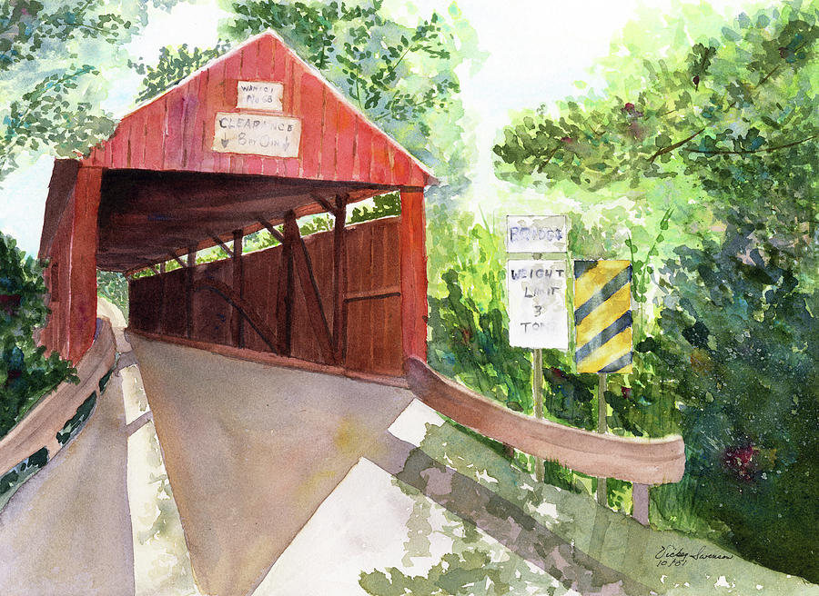 Covered Bridge Painting - The Covered Bridge by Vickey Swenson