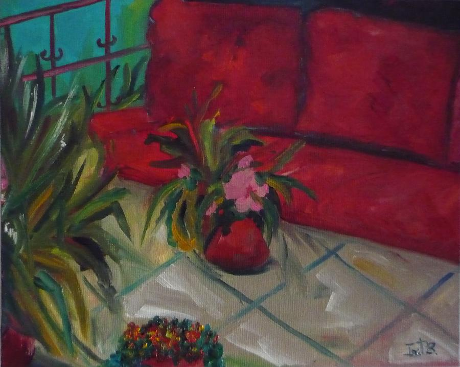 House Painting - The Covered Terrace by Irit Bourla