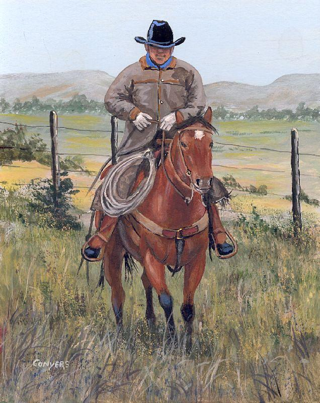 Horse Painting - The Cowboy by Peggy Conyers