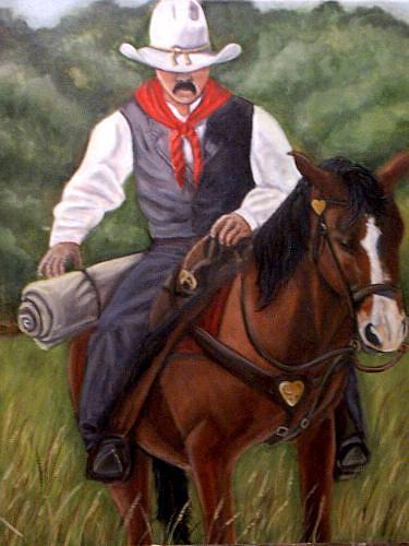 Portrait Painting - The Cowboy by Toni Berry