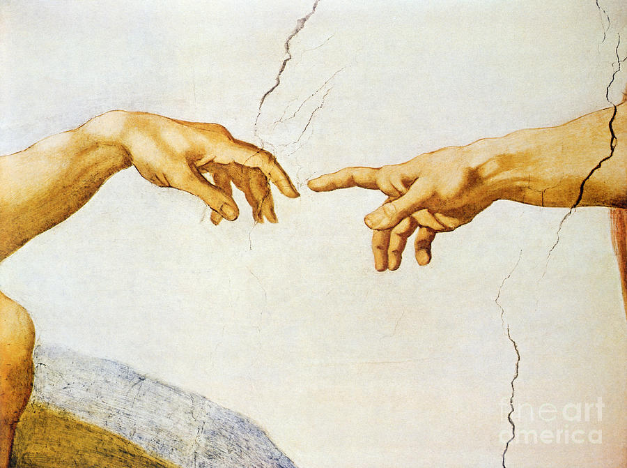 The creation of adam painting by michelangelo buonarroti for Creation of adam mural