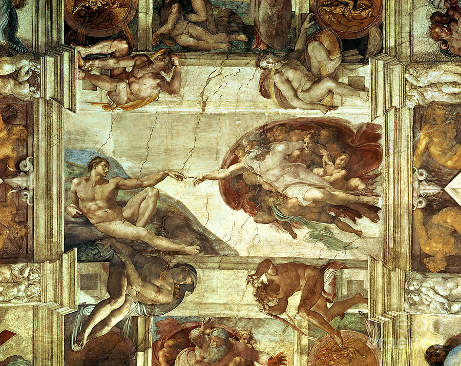 The Creation Of Adam Painting - The Creation Of Adam by Michelangelo