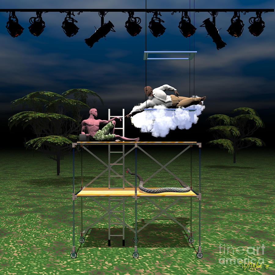 Figures Digital Art - The Creation Of Adam Restaged by Walter Oliver Neal