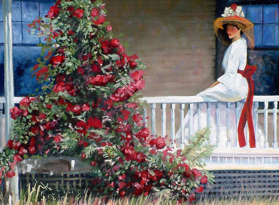 American Painting - The Crimson Rambler after Philip Leslie Hale by John OBrien