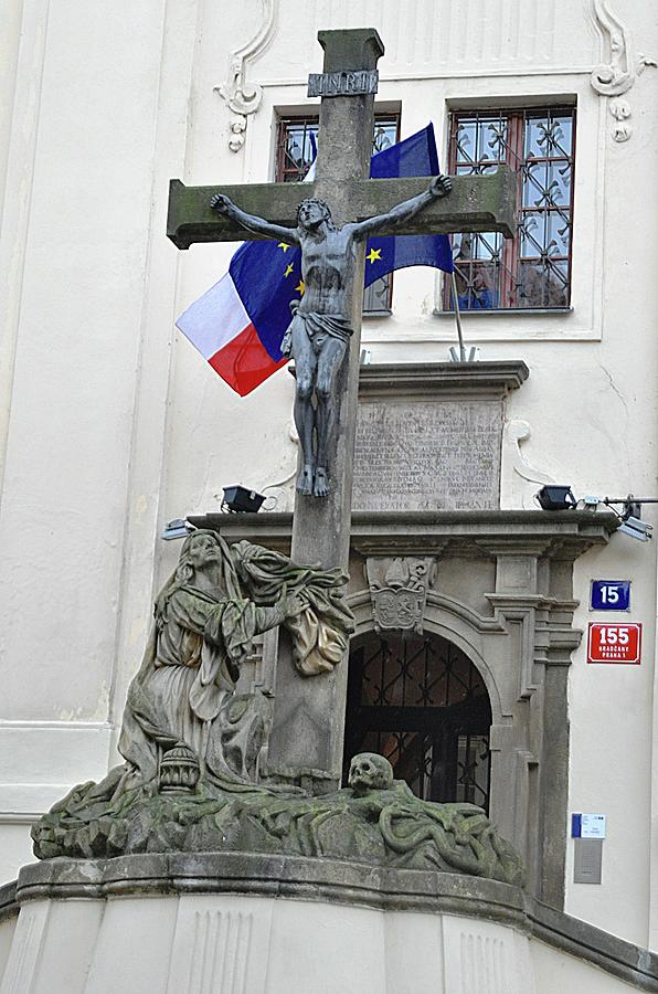 Cross Photograph - The Cross And Flags by John Hughes