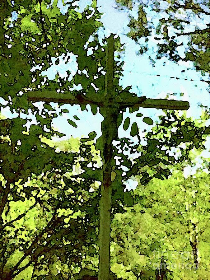 Cross Digital Art - The Cross In Nature by Jon Fennel