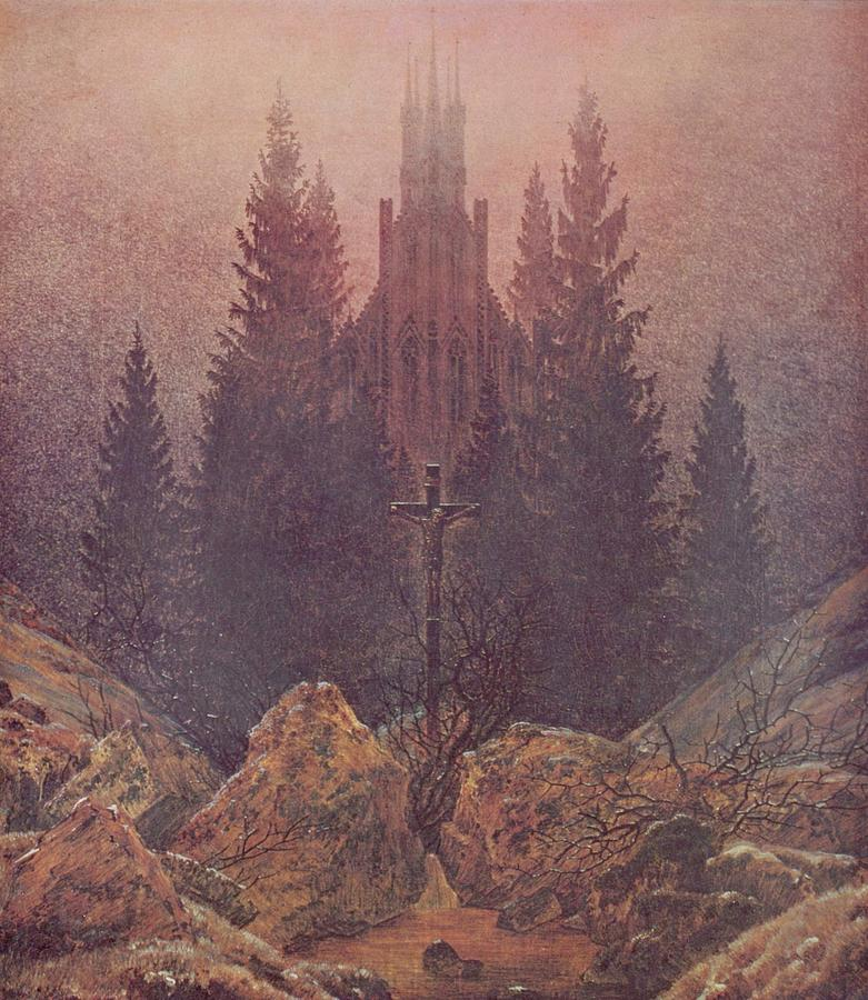 Nature Painting - The Cross In The Mountains 1812  By Caspar David Friedrich 1774-1840 by Caspar David Friedrich
