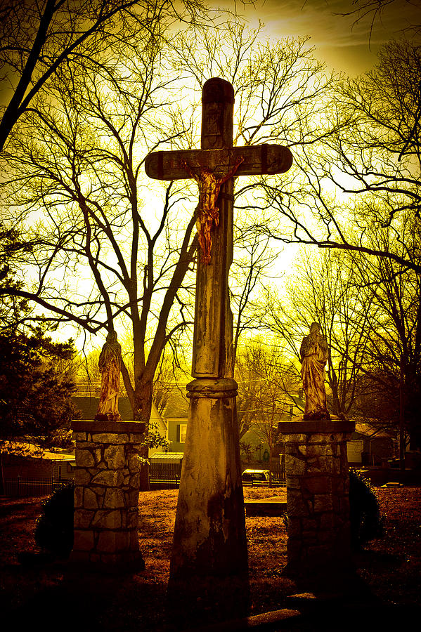 Cemetery Photograph - The Cross by Kristy Creighton