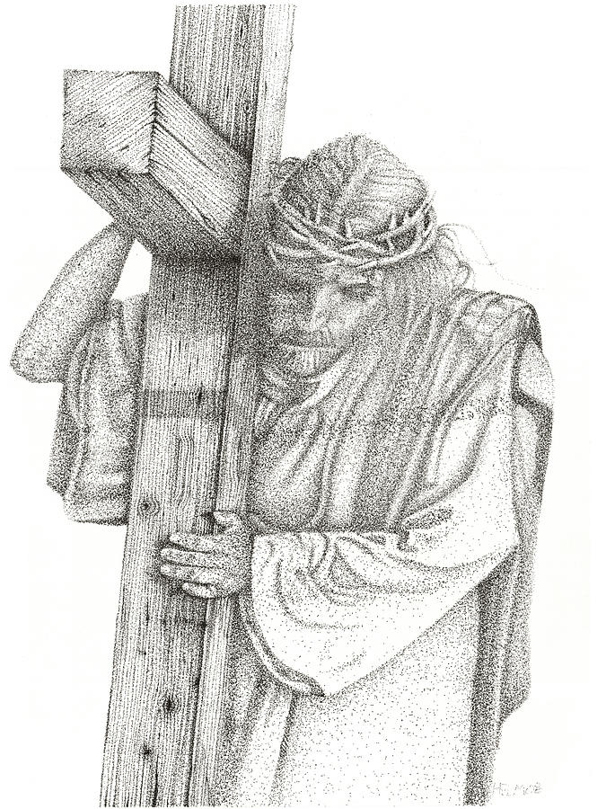 Jesus Drawing - The Cross by Mayhem Mediums