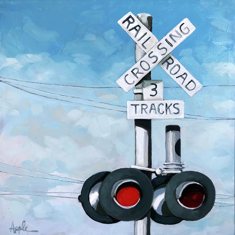 Railroad Painting - The Crossing - Train Signals by Linda Apple