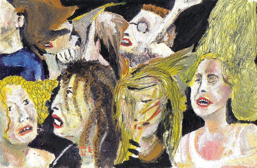 Figurative Painting - The Crowd Of V Festival by Nicola-Jayne Seddon