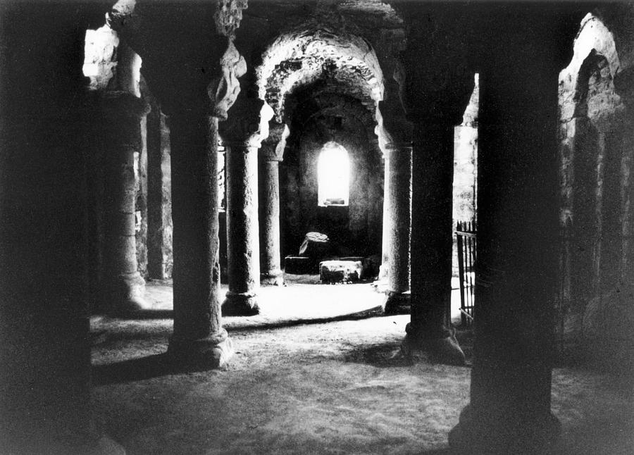 Interior; Architecture; French; Medieval; Gothic; Spooky; Eerie; Macabre; Barbe-bleue; Bluebeard's; Castle; Dungeon; Fairytale; Atmospheric; Vault; Vaulted; Columns; Pillars; Dark; Dramatic; Lair; History; Historical; Haunted Photograph - The Crypt by Simon Marsden