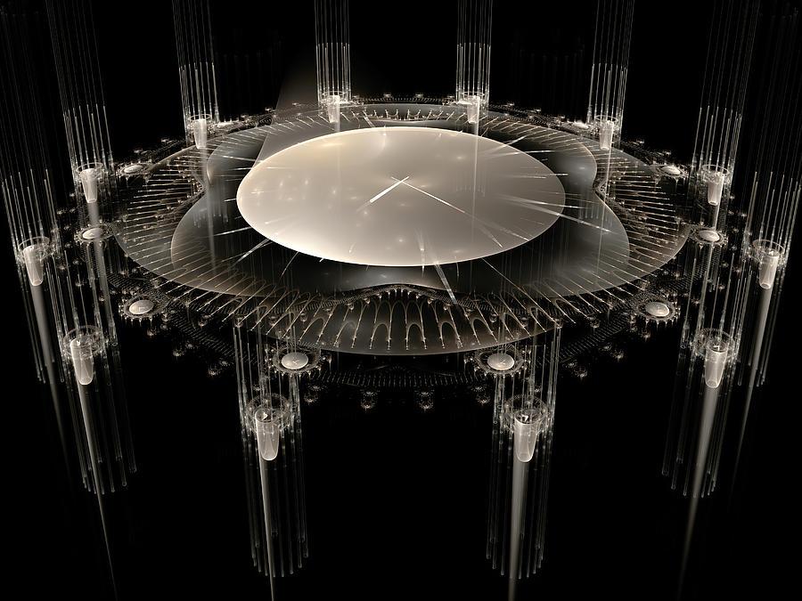 Fractal Digital Art - The Crystal Clock by Richard Ortolano