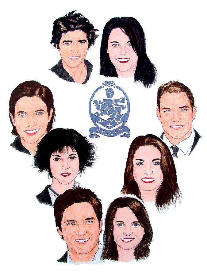 The Cullen Family Drawing by Michael Dijamco