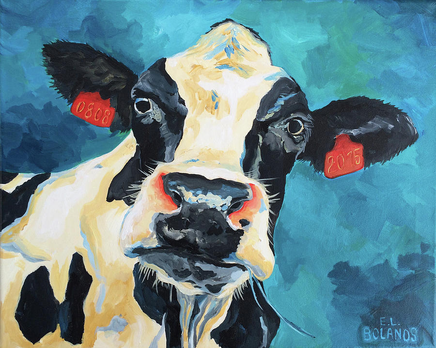 Cow Painting - The Curious Cow by Elisa Bolanos