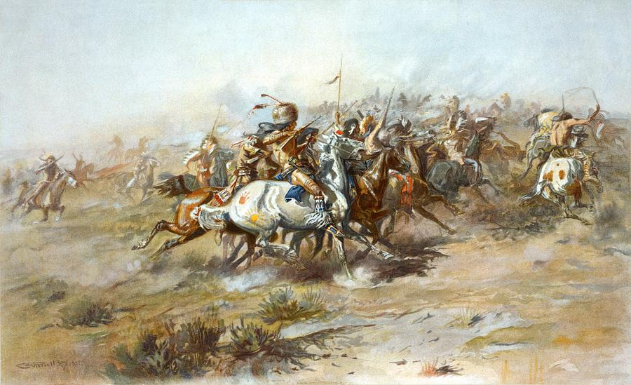 Charles Russell Digital Art - The Custer Fight by Charles Russell