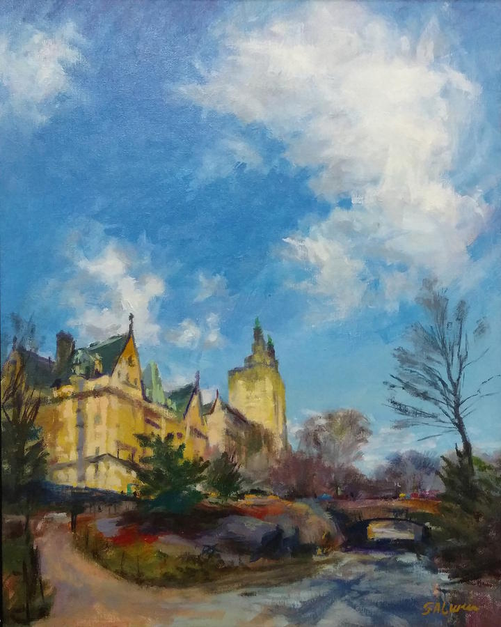 Landscape Painting - The Dakota And San Remo Towers From Central Park West by Peter Salwen