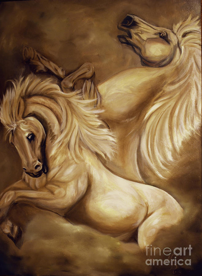 Horse Painting - The Dance by Nancy Bradley