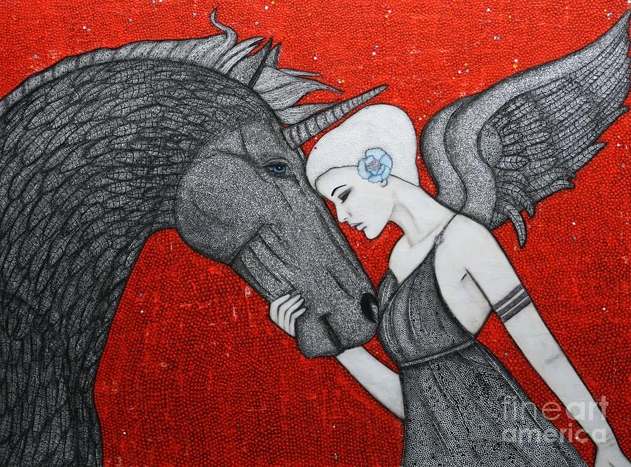 Unicorn Painting - The Dark Unicorn by Natalie Briney
