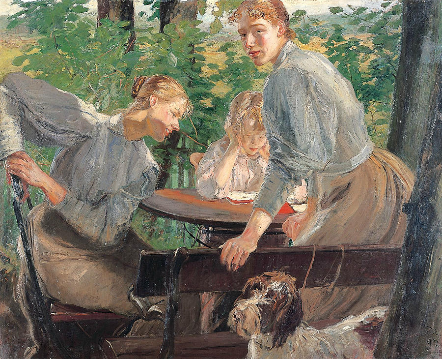 German Painters Painting - The Daughters Of The Artist In The Garden by Fritz von Uhde
