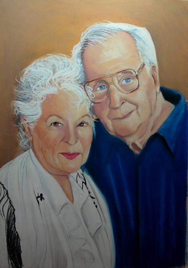 Pastel Portrait Painting - the Davidsons by Leonard R Wilkinson