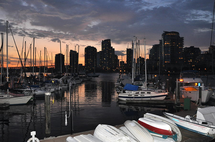 Sunset Photograph - The Day Ends at the Marina by Caroline Reyes-Loughrey