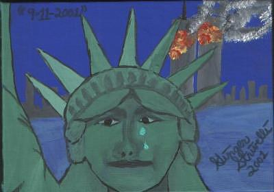 The Day Lady Liberty Cried Painting by Ginger Strivelli