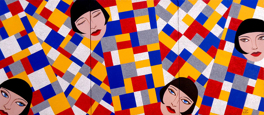 De Stijl Painting - The De Stijl Dolls by Tara Hutton