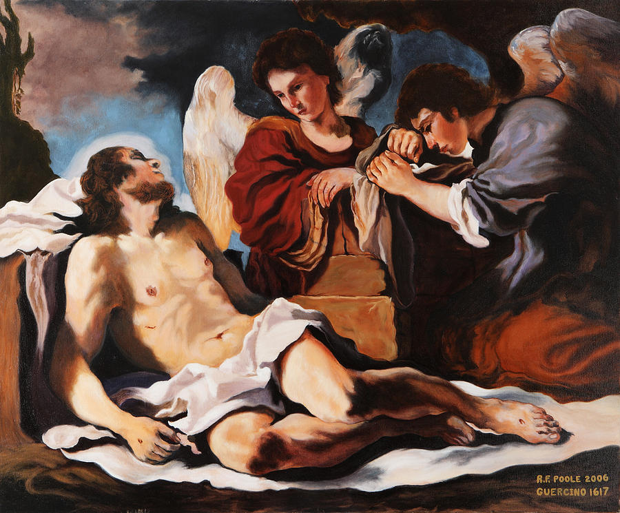 Christian Painting - The Dead Christ Mourned By Two Angels by Rebecca Poole