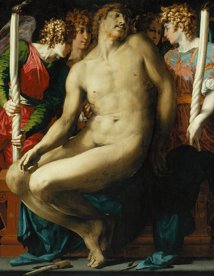 Rosso Fiorentino Painting - The Dead Christ with Angels by Rosso Fiorentino