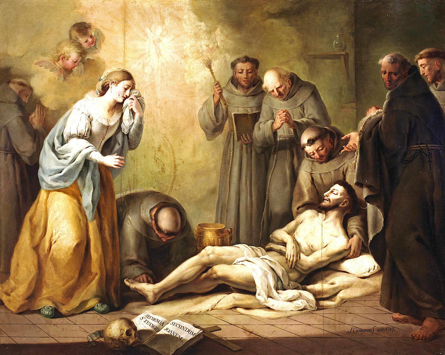 The Death Of Saint Francis Of Assisi Painting By Jose Camaron Boronat