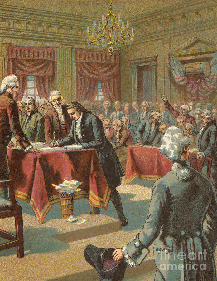The Declaration of Independence Painting by American School