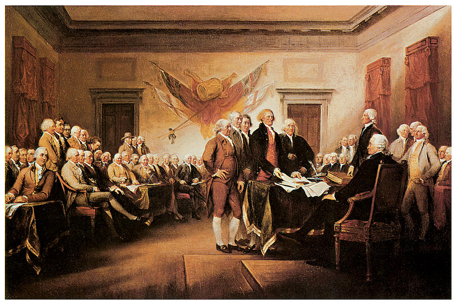 American Independence Painting - The Declaration Of Independence by John Trumbull