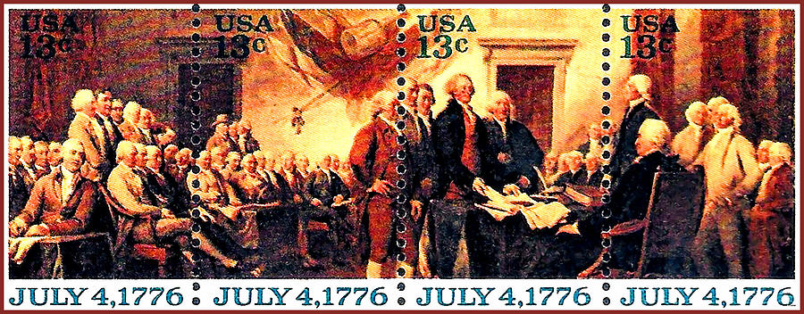 The Declaration Of Independence Stamps Painting - The Declaration Of Independence  by Lanjee Chee