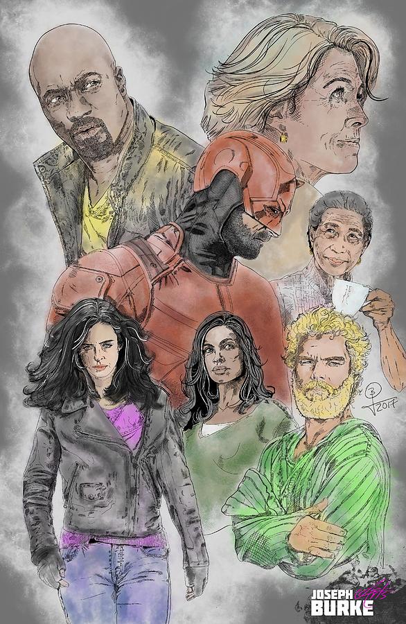 Marvel Comics Digital Art - The Defenders by Joseph Burke