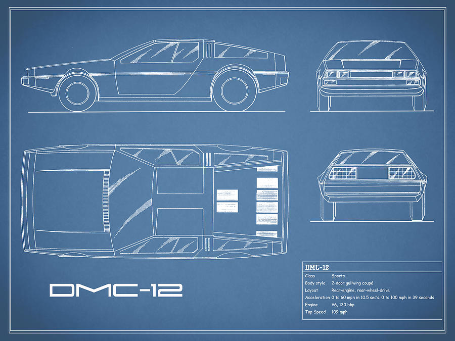 The Delorean Dmc-12 Blueprint Photograph by Mark Rogan