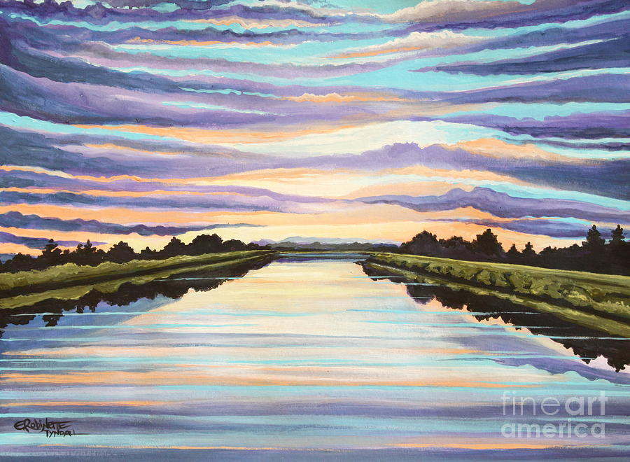 Sunset Painting - The Delta Experience by Elizabeth Robinette Tyndall