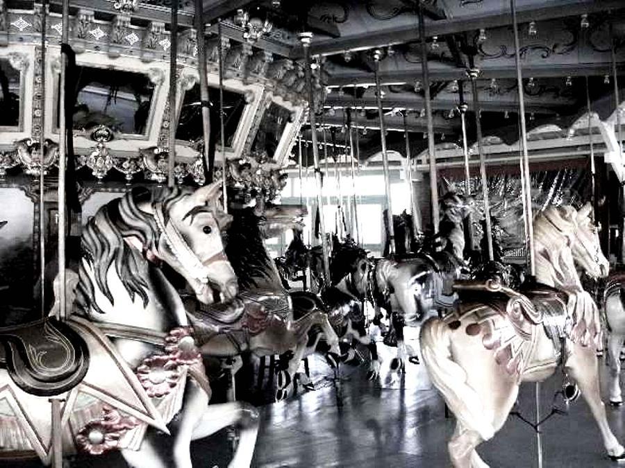 Lights Photograph - The Dentzel Carousel - Glen Echo Park by Fareeha Khawaja