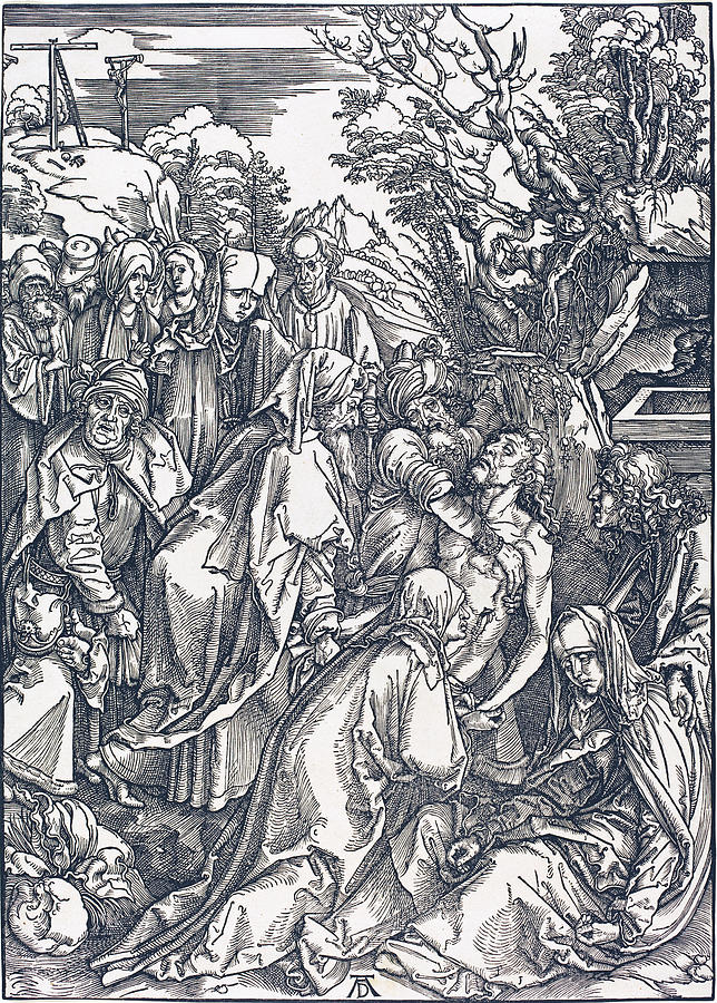 Durer Drawing - The Deposition by Albrecht Durer
