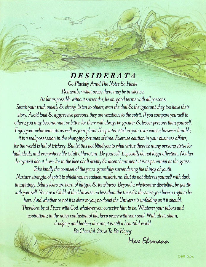 image about Desiderata Printable identified as The Desiderata Poster Via Max Ehrmann With Fallen Leaf