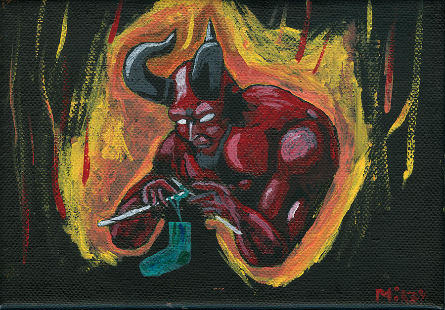 Devil Painting - The Devils Day Of Down Time by Mikey Milliken
