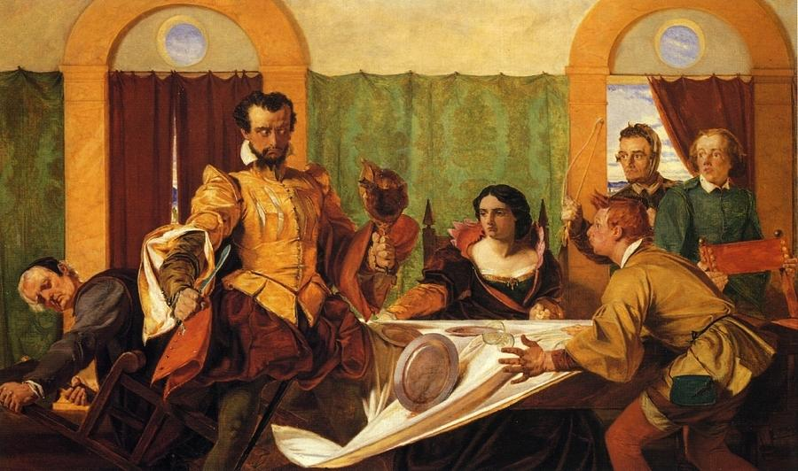 Augustus Leopold Egg Painting - The Dinner Scene From Taming Of The Shrew by MotionAge Designs
