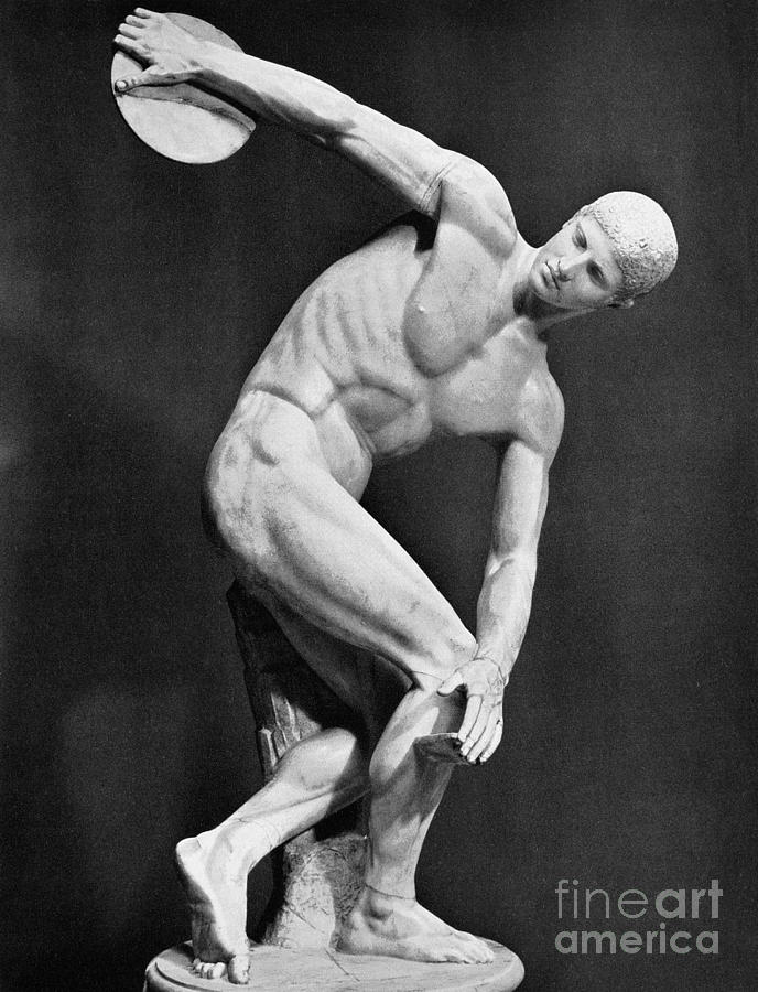 Ancient Photograph - The Discobolus, 450.b.c by Granger