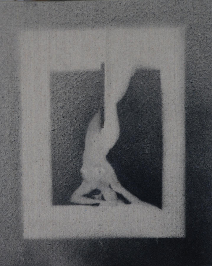Nude Woman Female Black White Ballances Gray  Painting - The Dive by Amy Bernays
