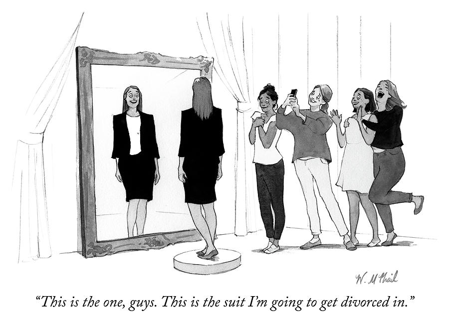 The Divorce Suit Drawing by Will McPhail
