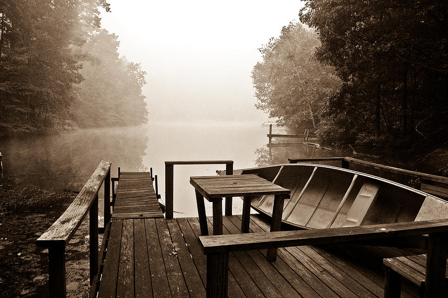 Fog Photograph - The Dock by Fern Logan
