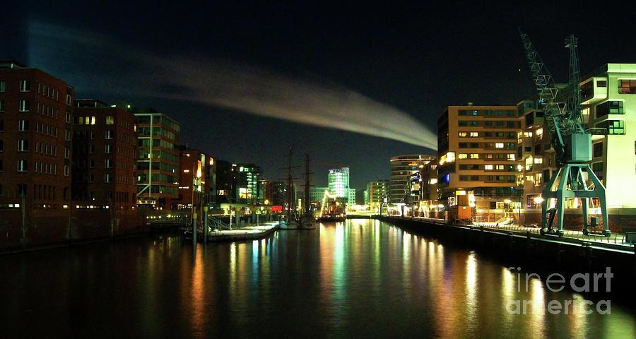 Hamburg Photograph - The Docks Of Hamburg By Night by Rob Hawkins