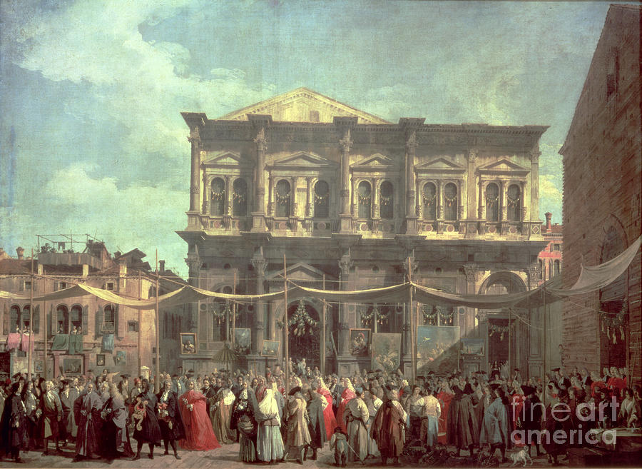 The Doge Visiting The Church And Scuola Di San Rocco Painting - The Doge Visiting The Church And Scuola Di San Rocco by Canaletto