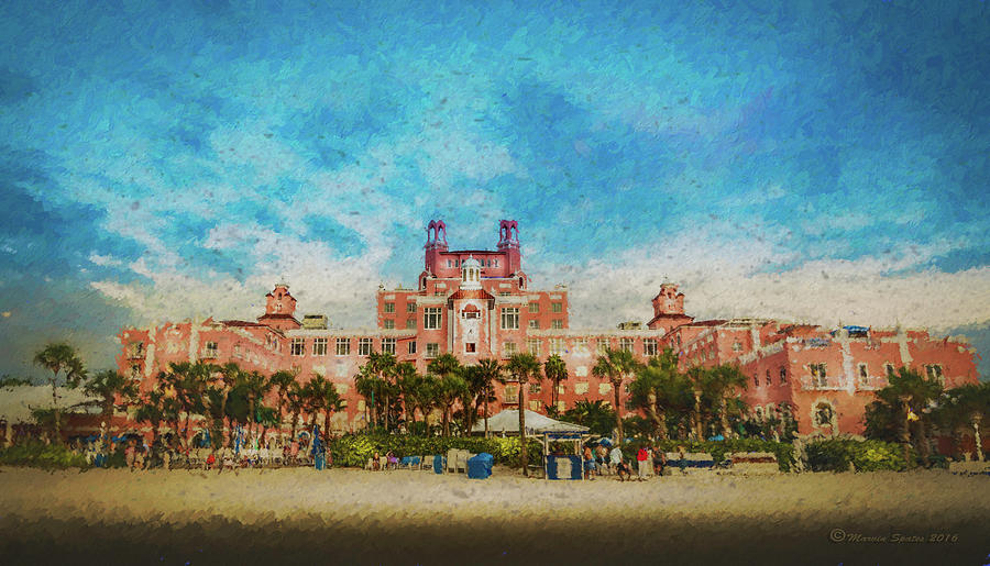 Scenic Mixed Media - The Don Cesar Resort by Marvin Spates