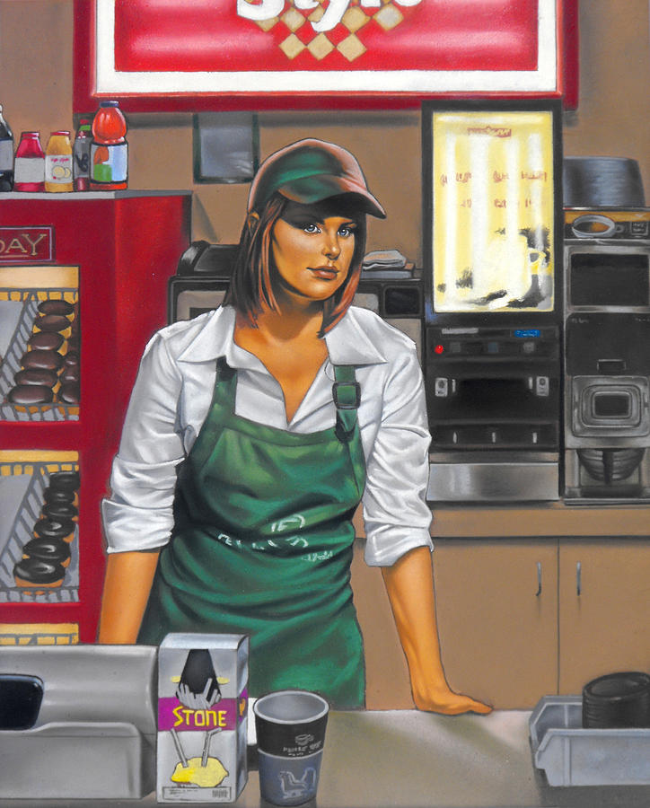 Figures Painting - The Donut Shop by Glenn Bernabe